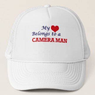 My heart belongs to a Camera Man Trucker Hat