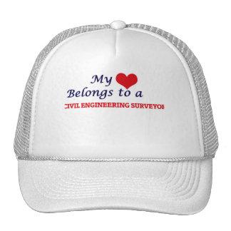 My heart belongs to a Civil Engineering Surveyor Trucker Hat