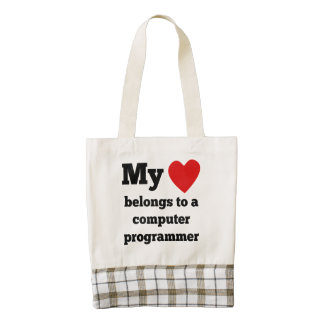 My Heart Belongs To A Computer Programmer Zazzle HEART Tote Bag