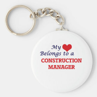 My heart belongs to a Construction Manager Keychain