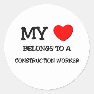 My Heart Belongs To A CONSTRUCTION WORKER Classic Round Sticker