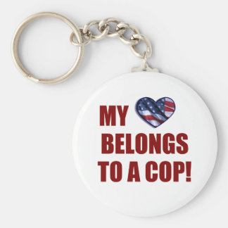 My Heart Belongs to a Cop Basic Round Button Keychain