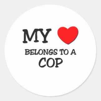 My Heart Belongs To A COP Classic Round Sticker