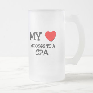 My Heart Belongs To A CPA Frosted Glass Beer Mug