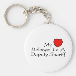 My Heart Belongs To A Deputy Sheriff Basic Round Button Keychain