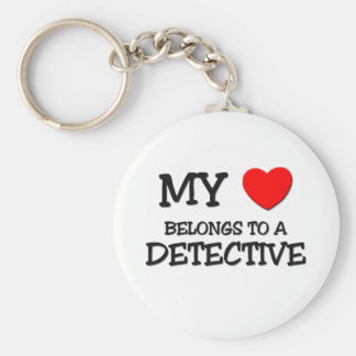 My Heart Belongs To A DETECTIVE Basic Round Button Keychain