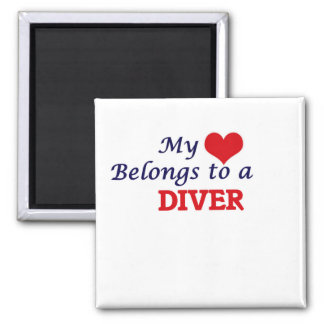 My heart belongs to a Diver 2 Inch Square Magnet