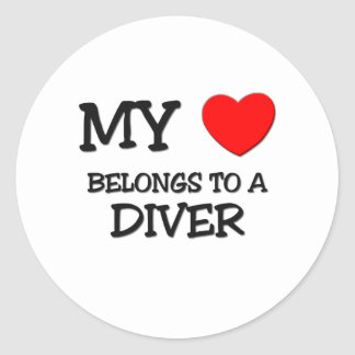 My Heart Belongs To A DIVER Classic Round Sticker