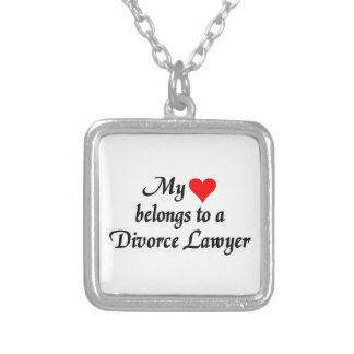 My heart belongs to a Divorce Lawyer Square Pendant Necklace