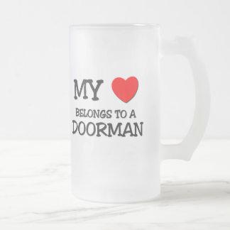 My Heart Belongs To A DOORMAN Frosted Glass Beer Mug