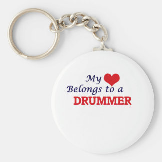 My heart belongs to a Drummer Keychain