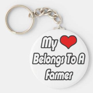 My Heart Belongs To A Farmer Basic Round Button Keychain