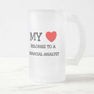 My Heart Belongs To A FINANCIAL ANALYST Frosted Glass Beer Mug