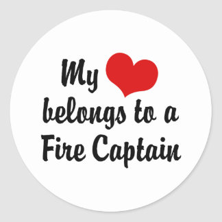 My Heart Belongs To A Fire Captain Classic Round Sticker