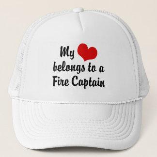 My Heart Belongs To A Fire Captain Trucker Hat
