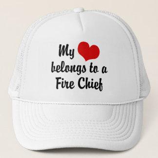 My Heart Belongs To A Fire Chief Trucker Hat