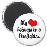 My Heart Belongs To A Firefighter 2 Inch Round Magnet