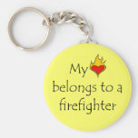 My Heart Belongs To A Firefighter Basic Round Button Keychain