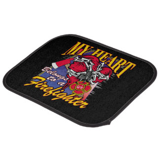 My Heart belongs to a Firefighter Car Floor Mat
