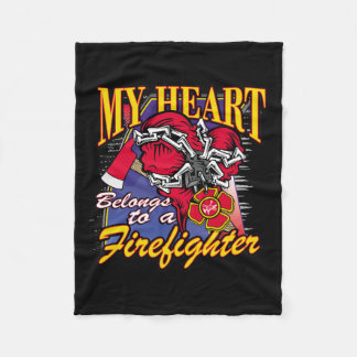 My Heart belongs to a Firefighter Fleece Blanket