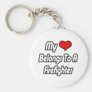 My Heart Belongs To A Firefighter Keychain