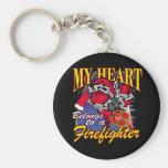 My Heart belongs to a Firefighter Keychain