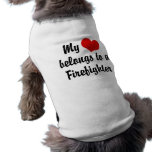 My Heart Belongs To A Firefighter Pet T Shirt