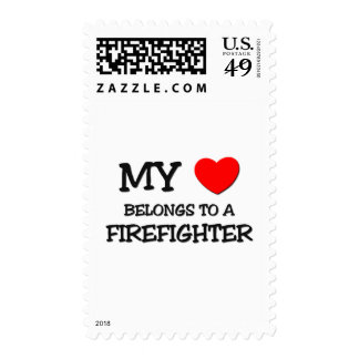 My Heart Belongs To A FIREFIGHTER Postage Stamp