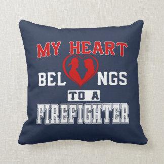 My heart belongs to a Firefighter Throw Pillow