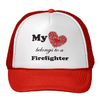 My Heart Belongs To A Firefighter Trucker Hat