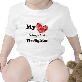 My Heart Belongs To A Firefighter Bodysuit