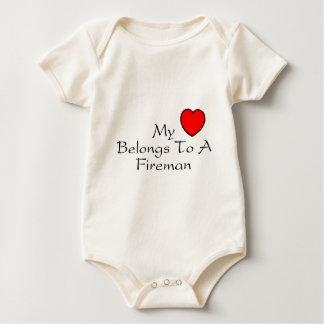 My Heart Belongs To A Fireman Baby Bodysuit