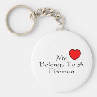 My Heart Belongs To A Fireman Basic Round Button Keychain