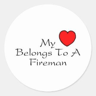 My Heart Belongs To A Fireman Classic Round Sticker
