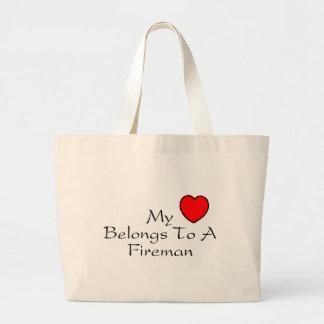 My Heart Belongs To A Fireman Large Tote Bag