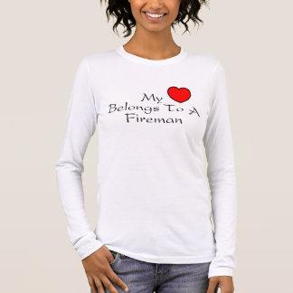 My Heart Belongs To A Fireman Long Sleeve T-Shirt