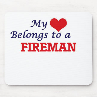 My heart belongs to a Fireman Mouse Pad