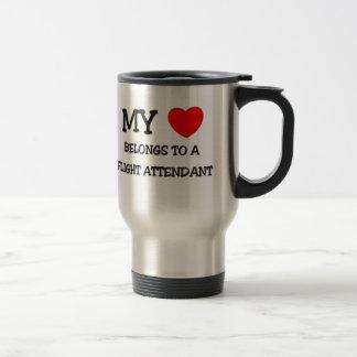 My Heart Belongs To A FLIGHT ATTENDANT 15 Oz Stainless Steel Travel Mug