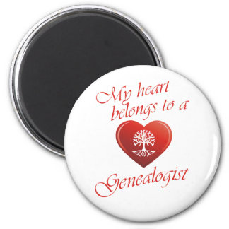 My Heart Belongs To A Genealogist 2 Inch Round Magnet