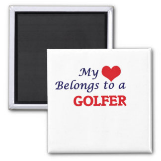My heart belongs to a Golfer 2 Inch Square Magnet