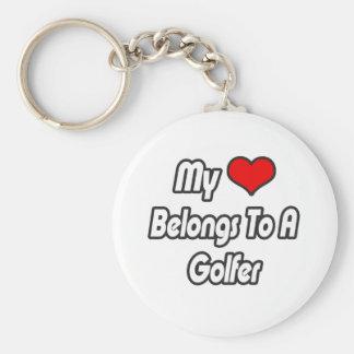 My Heart Belongs To A Golfer Keychain