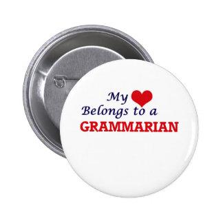 My heart belongs to a Grammarian Pinback Button