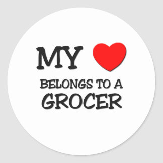 My Heart Belongs To A GROCER Round Stickers