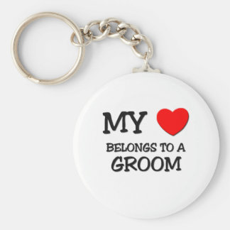 My Heart Belongs To A GROOM Basic Round Button Keychain