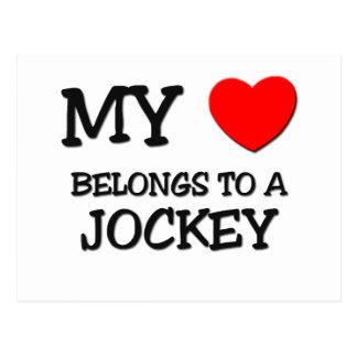 My Heart Belongs To A JOCKEY Postcard