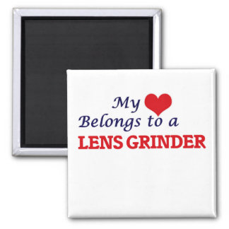 My heart belongs to a Lens Grinder 2 Inch Square Magnet