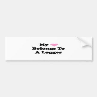 My Heart Belongs to a Logger Bumpersticker Car Bumper Sticker