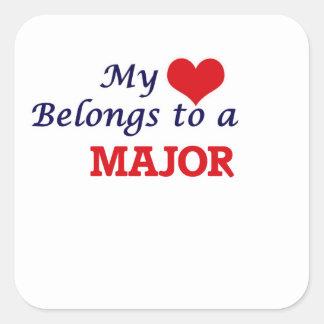 My heart belongs to a Major Square Sticker
