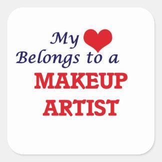 My heart belongs to a Makeup Artist Square Sticker