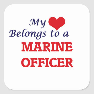 My heart belongs to a Marine Officer Square Sticker